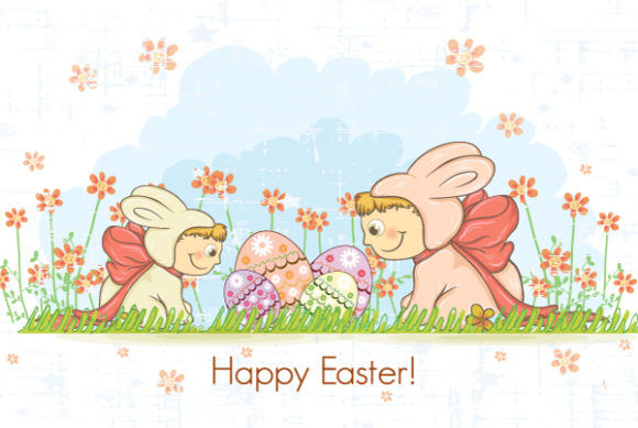 easter background with kids in bunny costume vector illustration Vector Illustrations floral