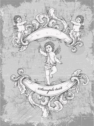 grunge vintage background with angel vector illustration Vector Illustrations old