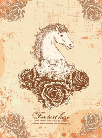 vector vintage horse with floral Vector Illustrations old