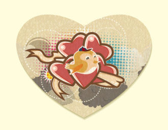 vector heart made of paper Vector Illustrations old