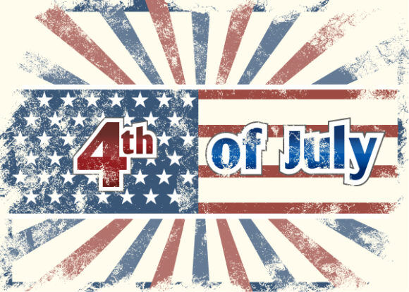 vector 4th of july background with rays Vector Illustrations star