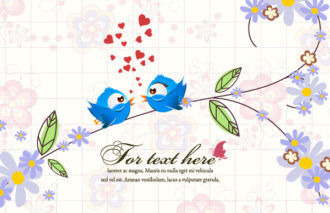 vector floral background with birds Vector Illustrations floral
