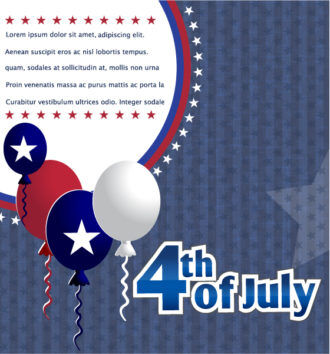 vector 4th of july background with balloons Vector Illustrations star