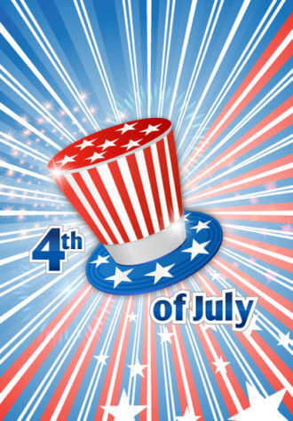 vector 4th of july background with hat Vector Illustrations star