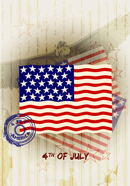 vector 4th of july background Vector Illustrations star