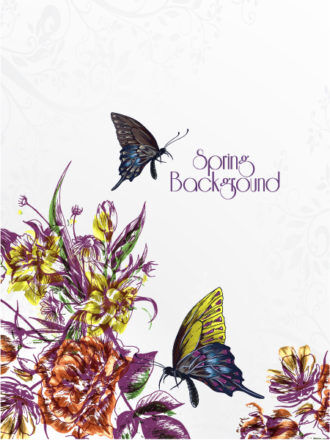 floral vector background illustration with butterflies Vector Illustrations floral