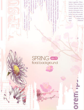 floral vector background illustration with torn paper Vector Illustrations floral