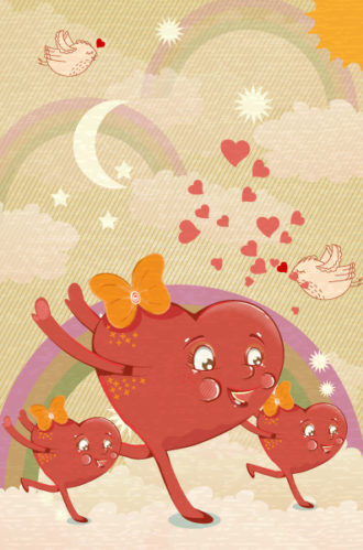 vector abstract background with funny hearts Vector Illustrations old
