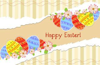 vector torn cardboard with eggs Vector Illustrations floral