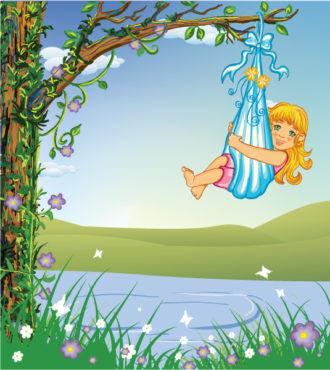 cute little girl vector illustration Vector Illustrations tree