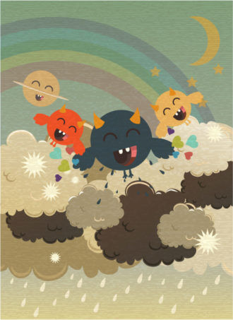 vector funny background with monster Vector Illustrations star