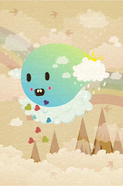 vector funny background with monster Vector Illustrations old
