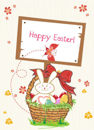 vector easter background with wood sign Vector Illustrations vector