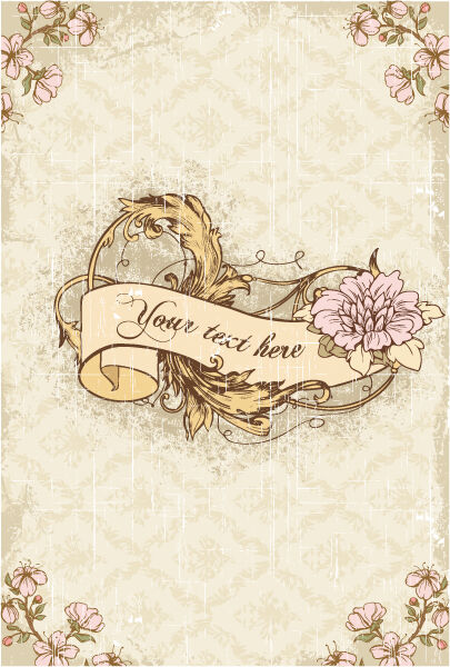 vintage scroll with floral vector illustration Vector Illustrations old