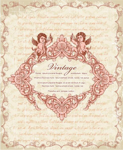 vector vintage frame with angels Vector Illustrations old