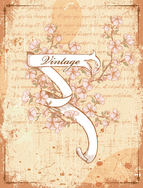 vector vintage scroll with floral Vector Illustrations old