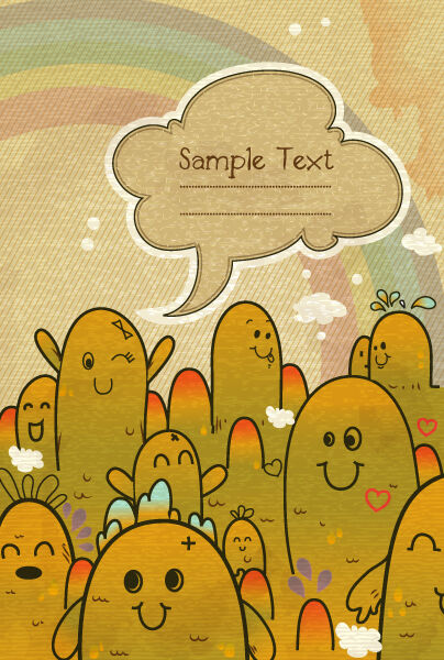vector cute monsters with chat bubble Vector Illustrations old