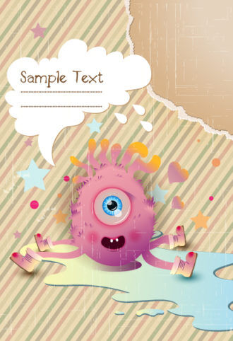 vector cute monster with chat bubble Vector Illustrations star