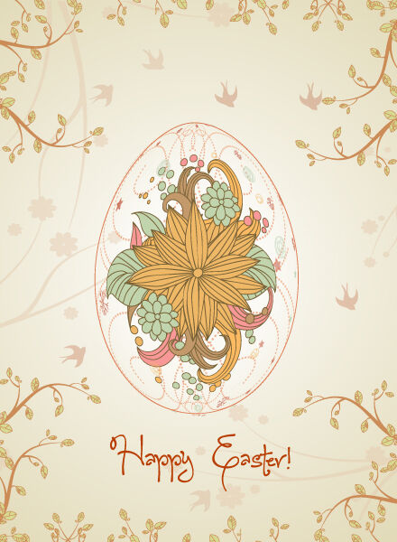 egg with floral vector illustration Vector Illustrations floral