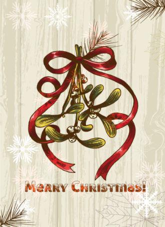 Christmas illustration with mistletoe Vector Illustrations star