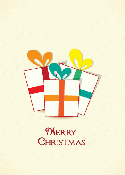 Christmas illustration with gift Vector Illustrations old