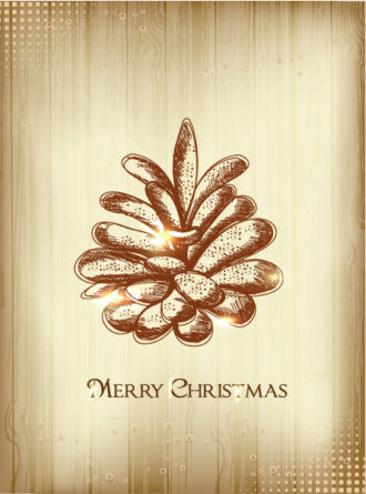 Christmas illustration with pine cone Vector Illustrations tree