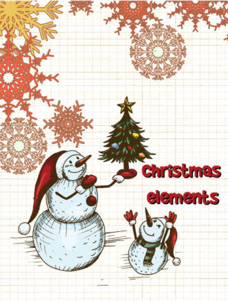 Christmas vector illustration with snow man and christmas tree Vector Illustrations old