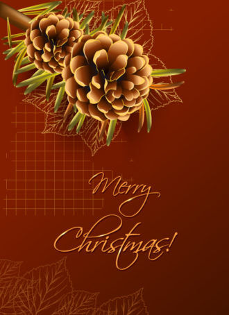 Christmas vector illustration with pine cone and fir Vector Illustrations old