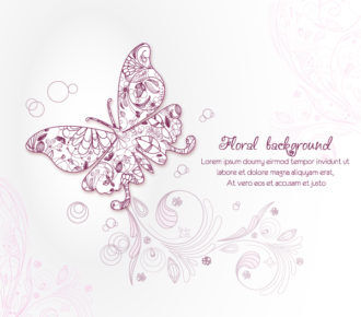 floral background vector illustration with butterflie Vector Illustrations floral