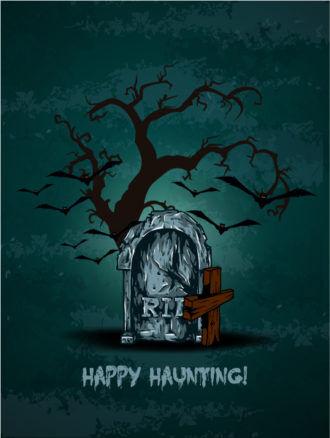 vector halloween background with graveyard Vector Illustrations vector