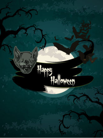 vector halloween background with bats Vector Illustrations tree