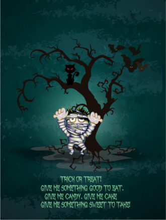vector halloween background with mummy Vector Illustrations tree
