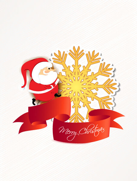 Christmas vector illustration with santa and sticker Vector Illustrations old