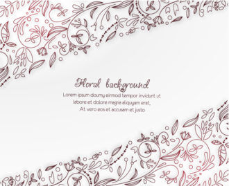 floral vector background illustration with doodle flowers Vector Illustrations old