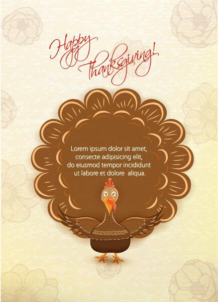 vector thanksgiving illustration with turkey Vector Illustrations floral