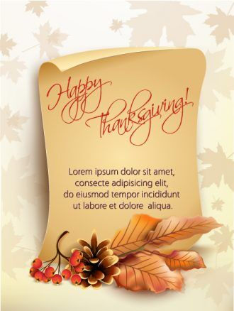 vector thanksgiving background with paper Vector Illustrations floral