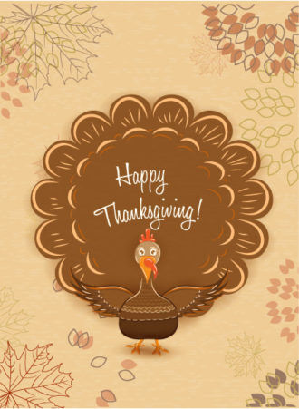 vector thanksgiving illustration with turkey Vector Illustrations floral