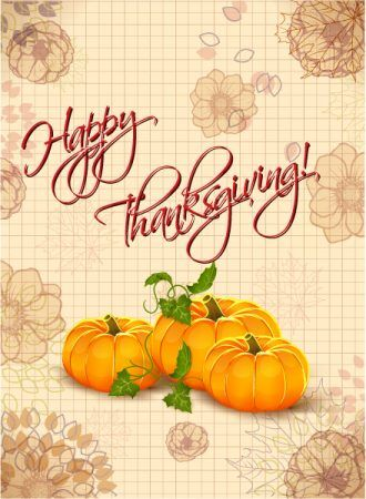 vector thanksgiving illustration with pumpkins Vector Illustrations floral