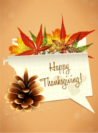 vector thanksgiving illustration with torn paper Vector Illustrations floral