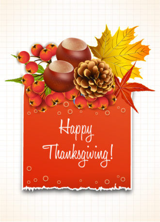 vector thanksgiving illustration with torn cardboard Vector Illustrations floral