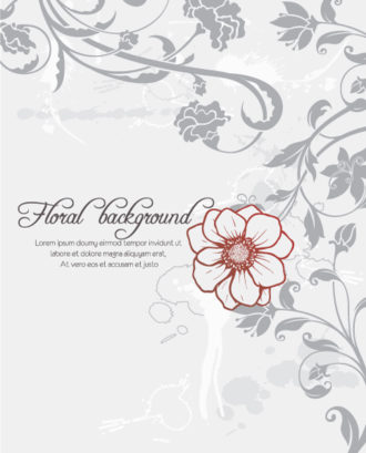floral vector background with floral elements Vector Illustrations old