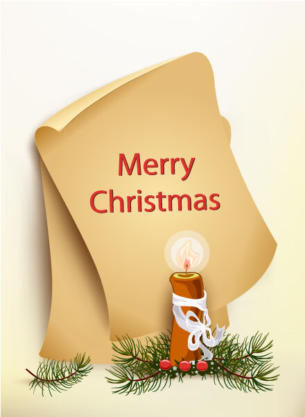 Christmas vector illustration with old paper and candle Vector Illustrations old