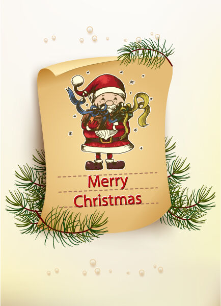 Christmas vector illustration with old paper and santa Vector Illustrations old