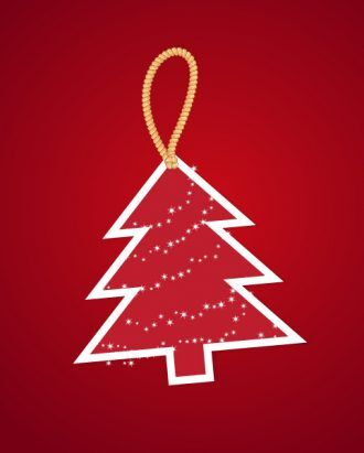 christmas vector illustration with Christmas tree and sticker Vector Illustrations star