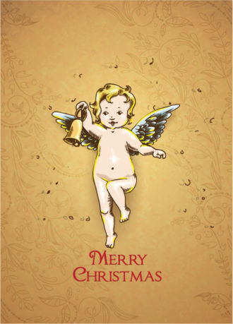 Christmas vector illustration with angel Vector Illustrations vector