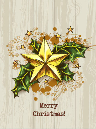 Christmas vector illustration with  Christmas tree and holly berry Vector Illustrations star