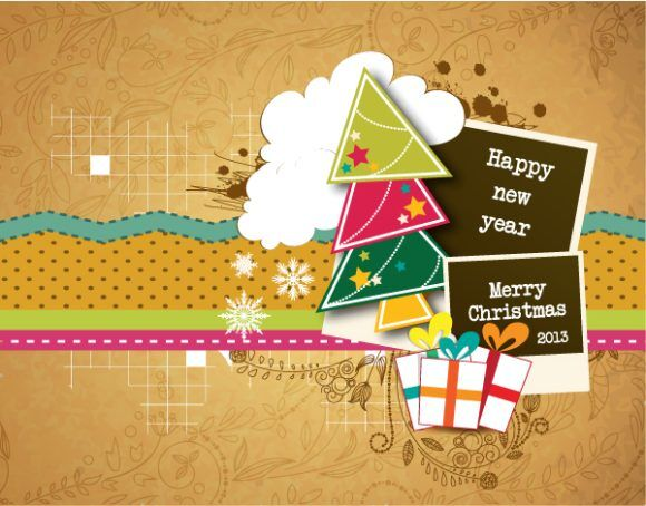 Christmas vector illustration with photo frame and Christmas tree Vector Illustrations star
