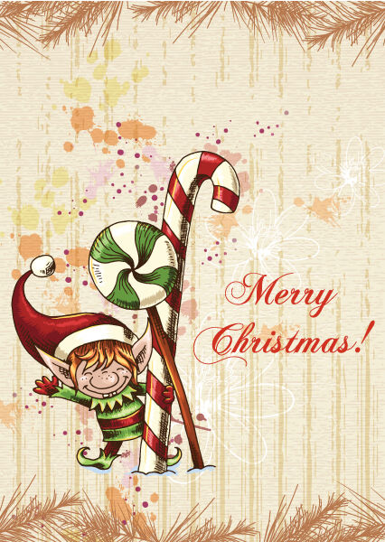christmas vector illustration with elf and fir Vector Illustrations old