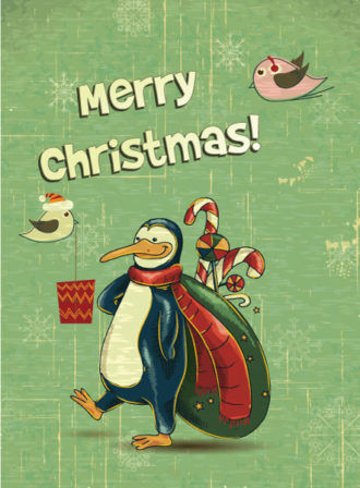 christmas vector illustration with penguins Vector Illustrations vector