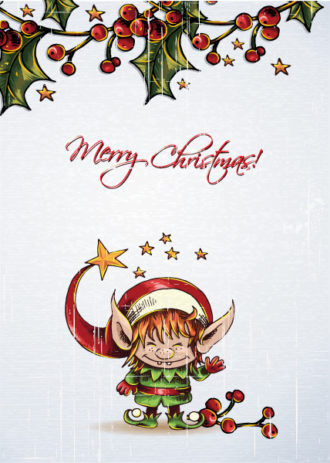 christmas vector illustration with elf and cranberryes Vector Illustrations star